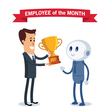 A robot receives the award for the best employee of the month