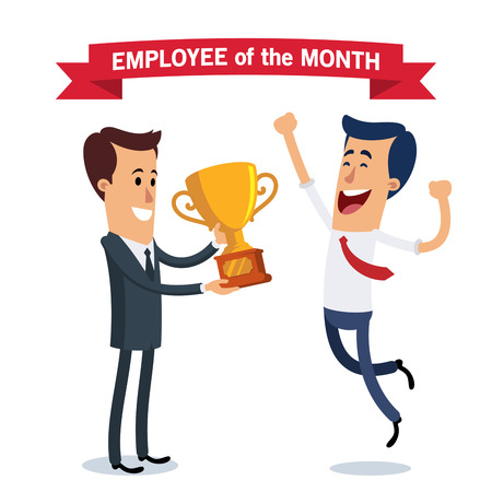 A worker receives the award for the best employee of the month