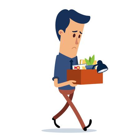 Dipendente che ha perso il lavoro, porta una scatola con le sue cose Vettoriali