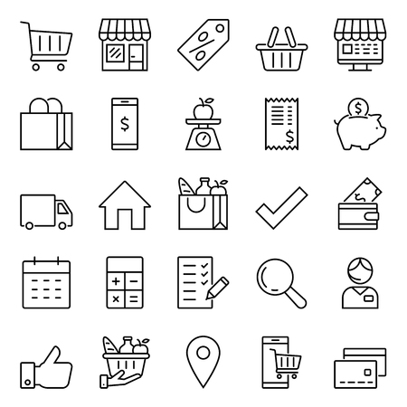 Set of icons for stores and supermarkets, linear icons