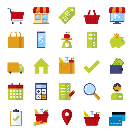 Set of icons for stores and supermarkets, flat icons colorfull