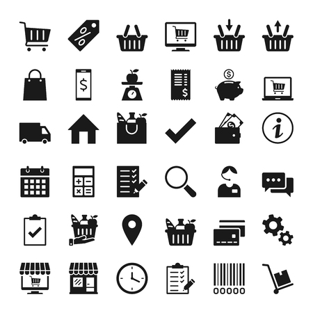 Set of icons for stores and supermarkets, and e-commerce