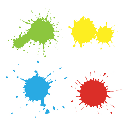 Set of paint spots of different colors, texture of paint spots