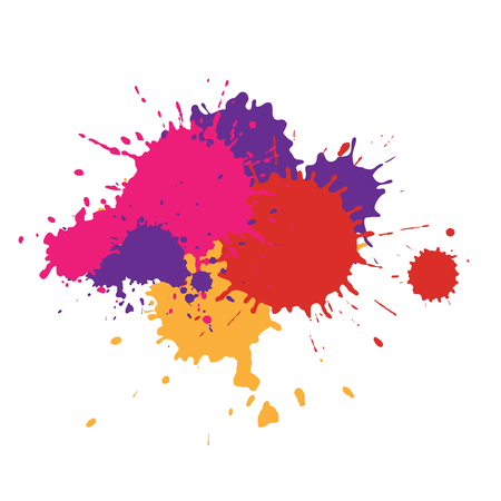 Paint stain of different colors, texture of paint spots 矢量图像