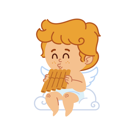 vector illustration of cupid, he is playing a pan flute
