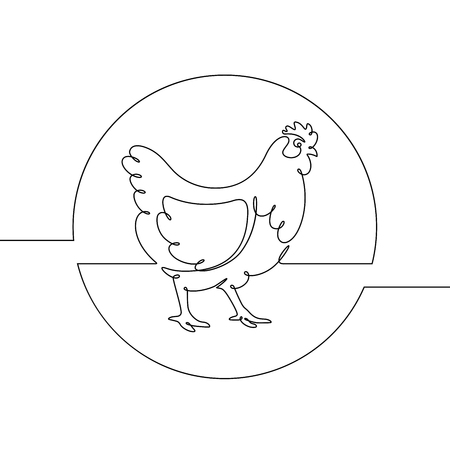 Vector drawing of a chicken, drawn with a continuous line. Vectores