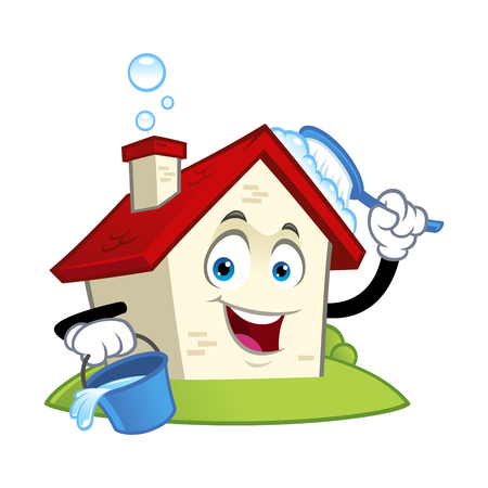 Funny house character with a cleaning brush in his hand vector illustration.