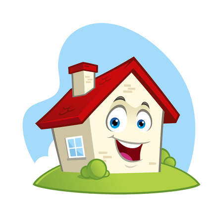 Funny house, cartoon style vector illustration.