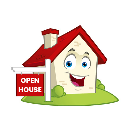 Funny house with a open house sign vector illustration.