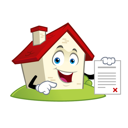Funny house with a contract in hand vector illustration.