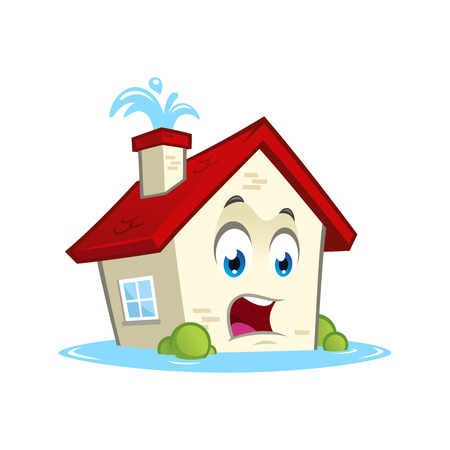 Funny house character with water leaks, cartoon style.