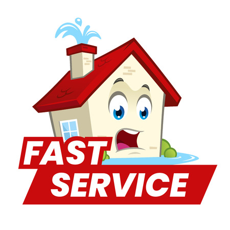 Fun house with water leaks and a fast service sign.