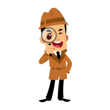 Vector drawing of a detective man, he is looking through a magnifying glass Stock Illustratie
