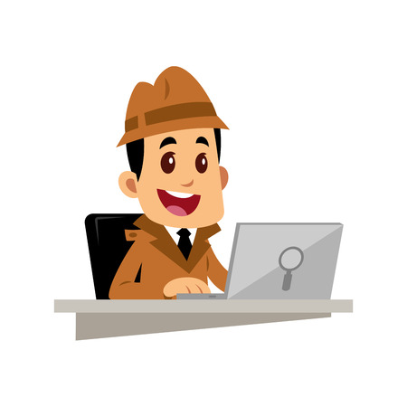 A Vector drawing of a detective man, he is working with a laptop