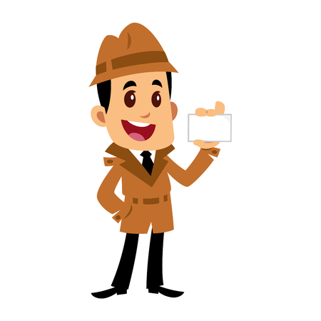 A Vector drawing of a detective man, he is showing a business card 矢量图像