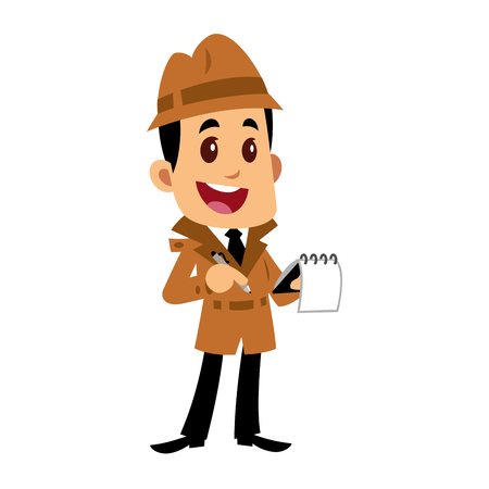 A Vector drawing of a detective man, he is writing notes in a notebook Illustration