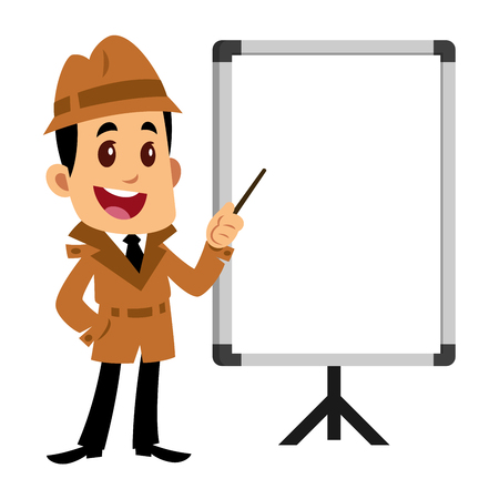 A Vector drawing of a detective man, he is pointing a blank whiteboard