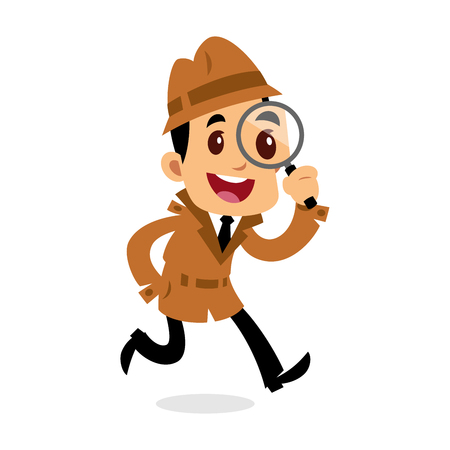 A Vector drawing of a detective man, he is looking for clues
