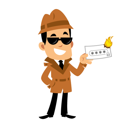 A Vector drawing of a detective, he is burning a paper with a written password 矢量图像