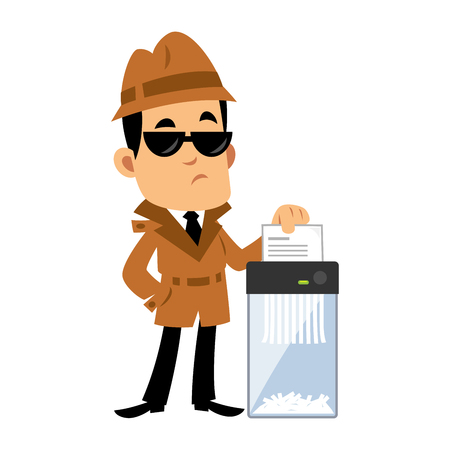 A Vector drawing of a detective, he is destroying a document in a paper shredder