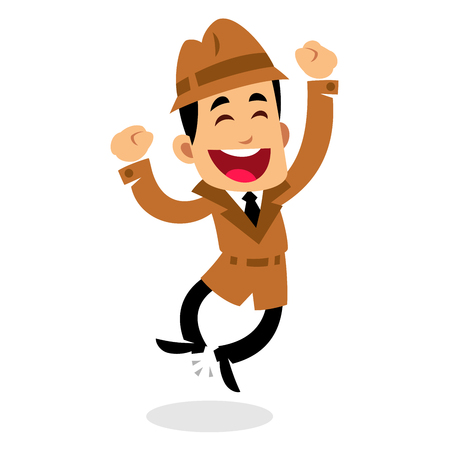 A Vector drawing of a detective, he is jumping, happy 矢量图像