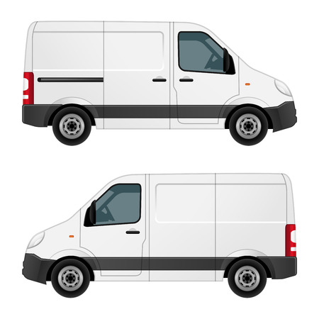 Vector illustration of a white van, view of the right side and the left side