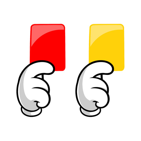 Illustration of two hands with red and yellow cards 矢量图像