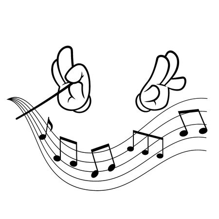 Hands of a conductor, drawn in cartoon style