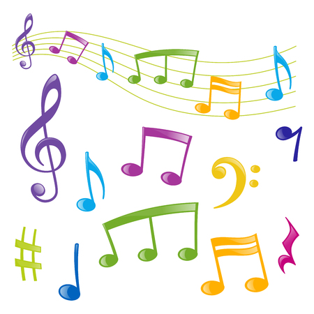 Set of musical signs of different colors, cartoon style