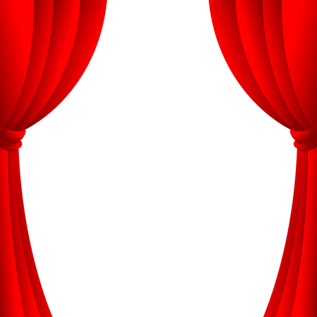 Red open curtains of a theater on white background