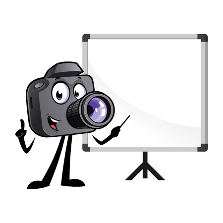 Cartoon camera mascot with a white board.