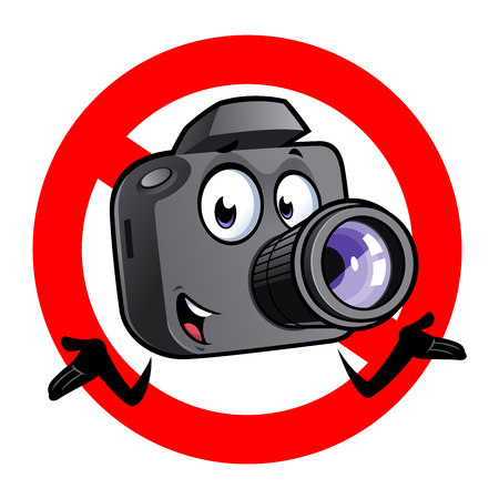Cartoon camera mascot within a prohibited signal.