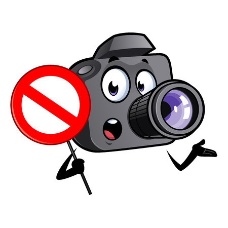 Cartoon camera mascot with a prohibited signal in his hand.