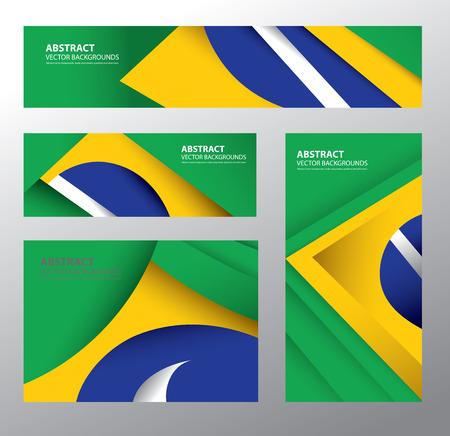 Abstract Brazilian Flag Vector Art