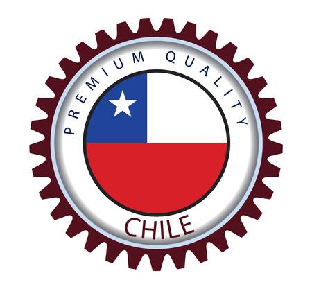 bandera chilena: Chile sello, la bandera chilena (Arte del vector) Vectores