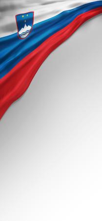 slovenian: Flag Slovenian Colors, Slovenia Flag (3D Render) Stock Photo