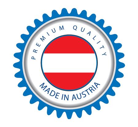 austrian: Made in Austria Seal, Austrian Flag (Vector Art)