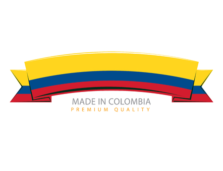 Made in Colombia Seal, Columbiaanse Vlag (Vector kunst)