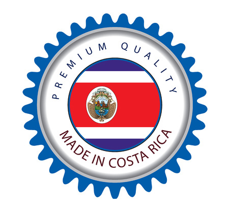 costa rican: Made in Costa Rica Seal, Costa Rican Flag (Vector Art)