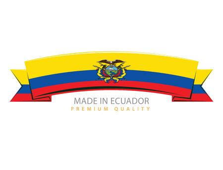 Made in Ecuador Ribbon, Republic of Ecuador Flag (Vector Art)