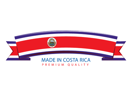 Made in Costa Rica Ribbon, Costa Rican Flag (Vector Art)
