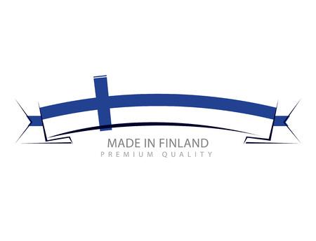 Made in Finland Ribbon, Finnish Flag (Vector Art) Illustration