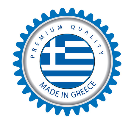 Made in Greece Seal, Greek Flag (Vector Art)