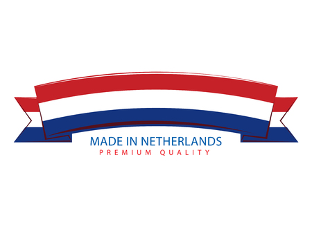 holland flag: Made in Netherlands Ribbon, Holland Flag (Vector Art)