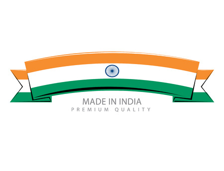 Made in India Ribbon, Indian Flag (Vector Art)
