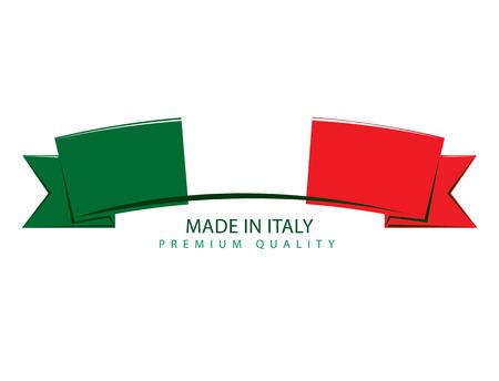 Made in Italy Ribbon, Italian Flag (Vectorkunst) Vector Illustratie