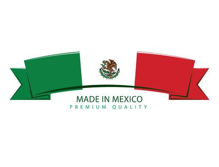 bandera de mexico: Hecho en México de la cinta, la bandera mexicana (Arte del vector)