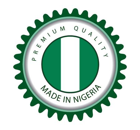 country nigeria: Made in Nigeria Seal, Nigerian Flag (Vector Art) Illustration
