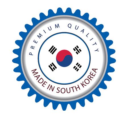 Made in Korea Seal, South Korea Flag (Vector Art) Illustration