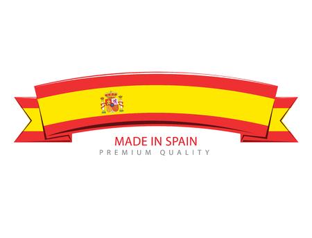 madrid: Made in Spain Ribbon, Spanish Flag (Vector Art)